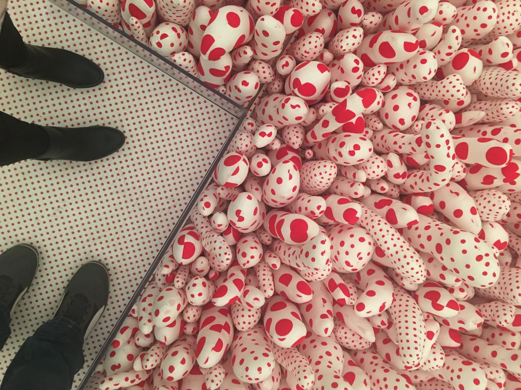 white tubers with red polka dots