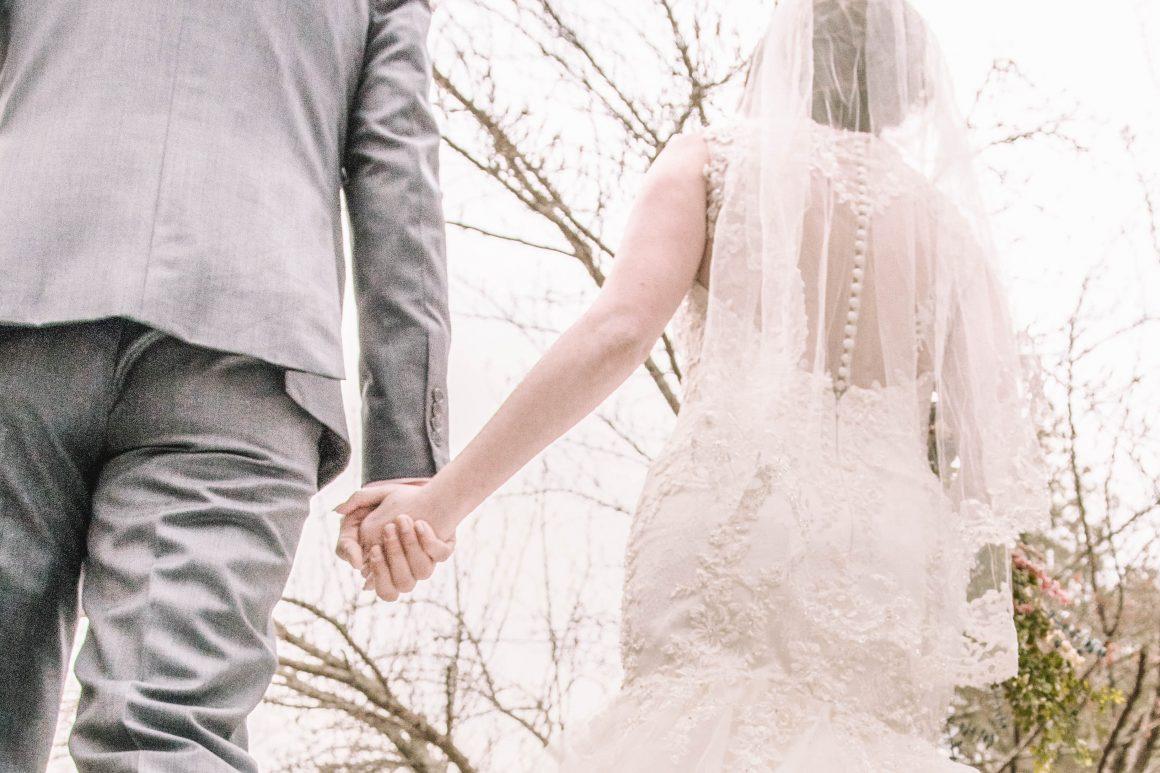 bride and groom holding hands digital molt