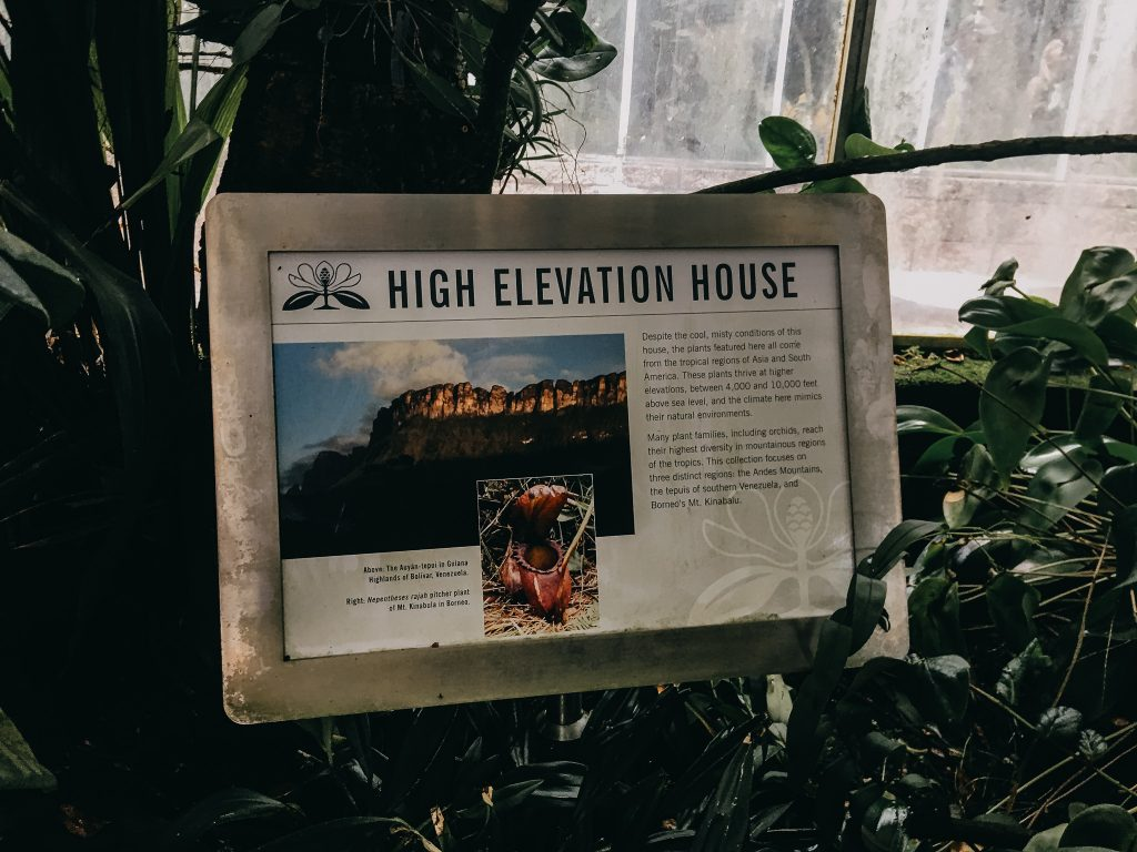 high elevation house informational sign at the atlanta botanical garden