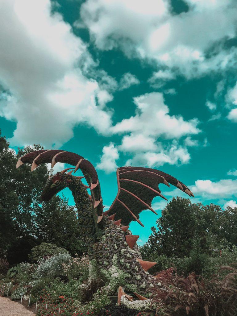 dragon topiary plant sculpture atlanta botanical garden