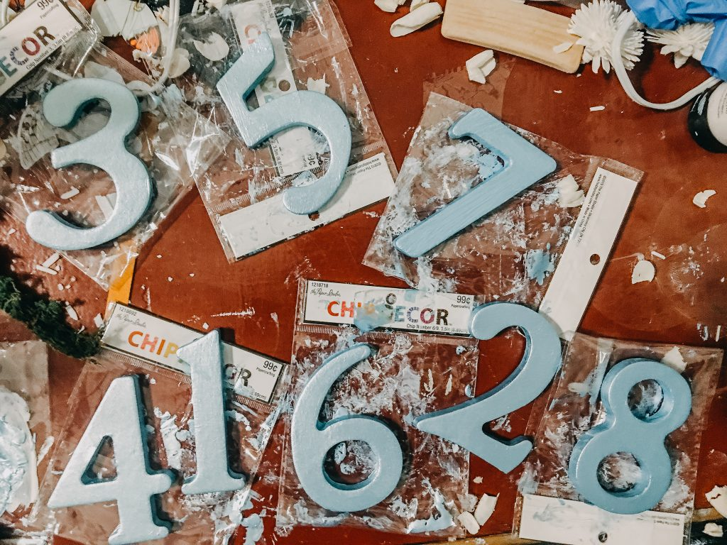 hand painted chip board table numbers