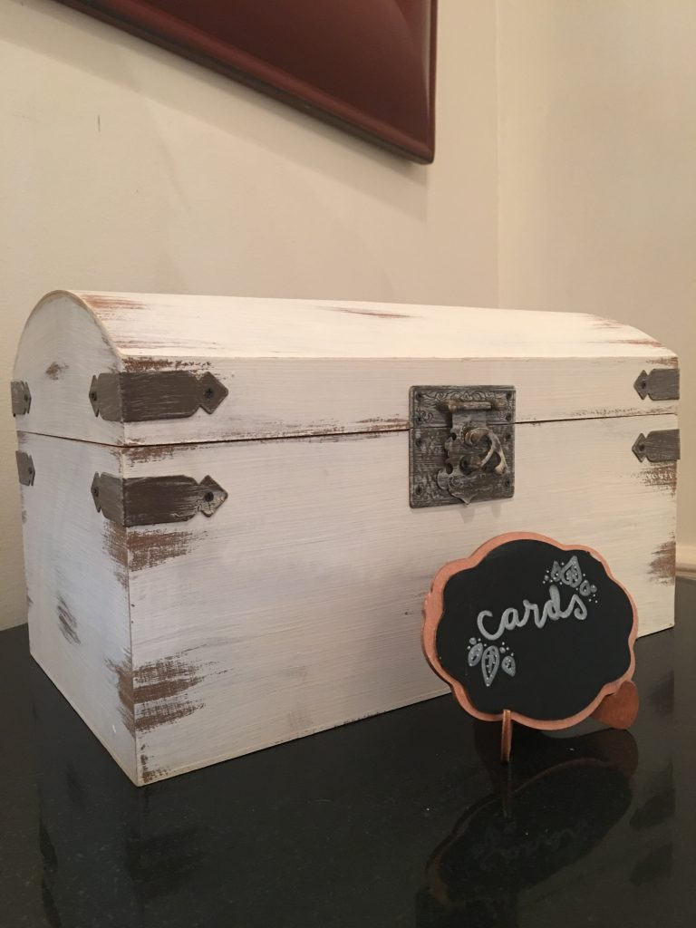 antique distressed white wedding card box