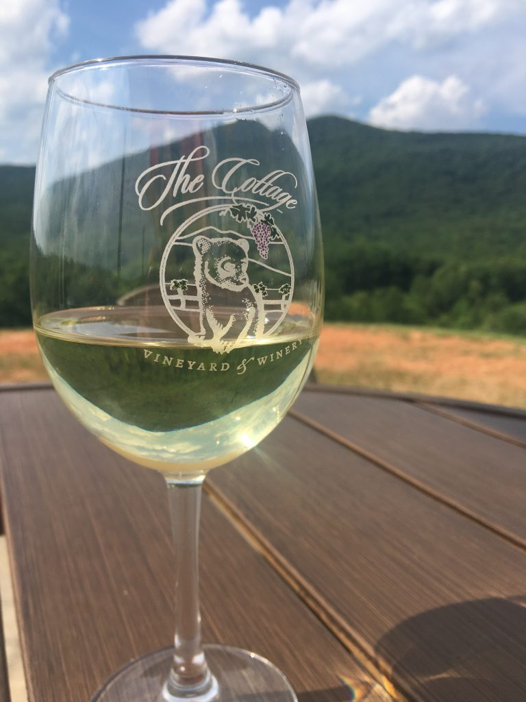 glass of white wine from the Cottage Vineyard
