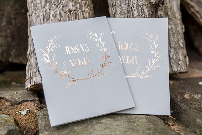 rose gold personalized wedding vow books