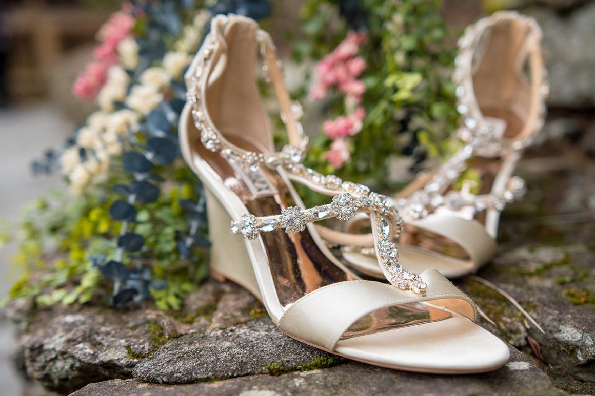 badgley mischka wedding wedges with gemstones