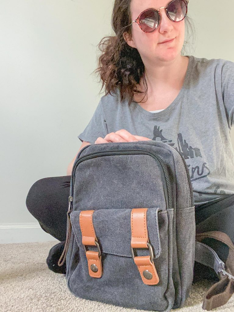 small gray backpack I found on Amazon