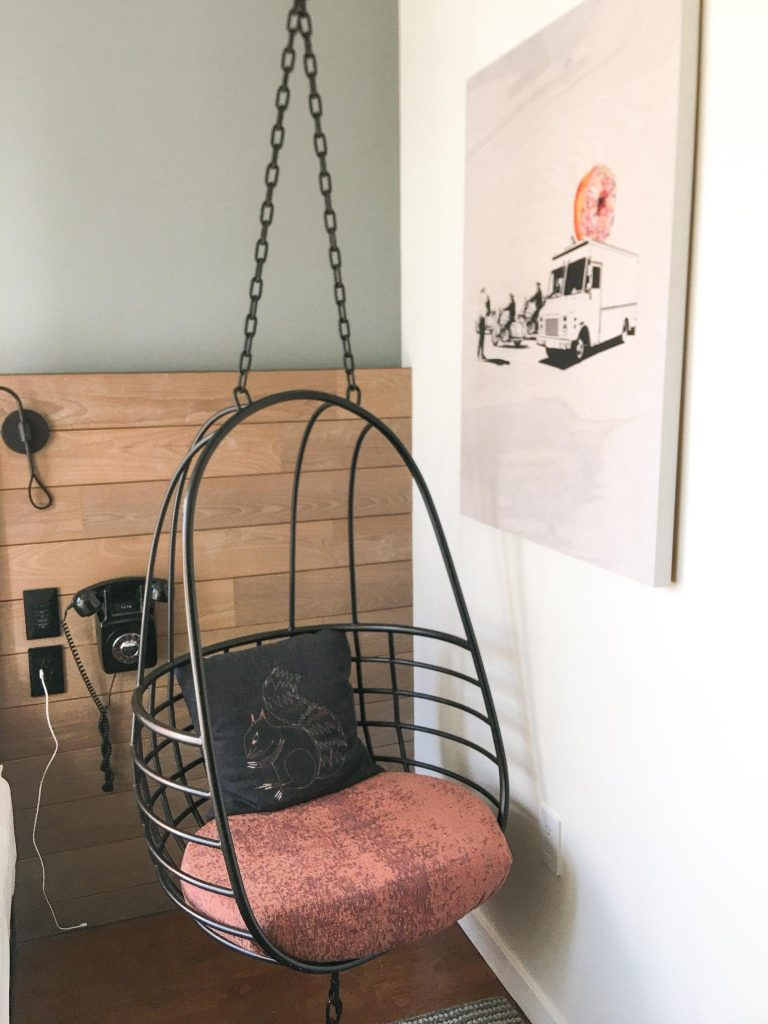 hanging chair in the nyc downtown moxy room