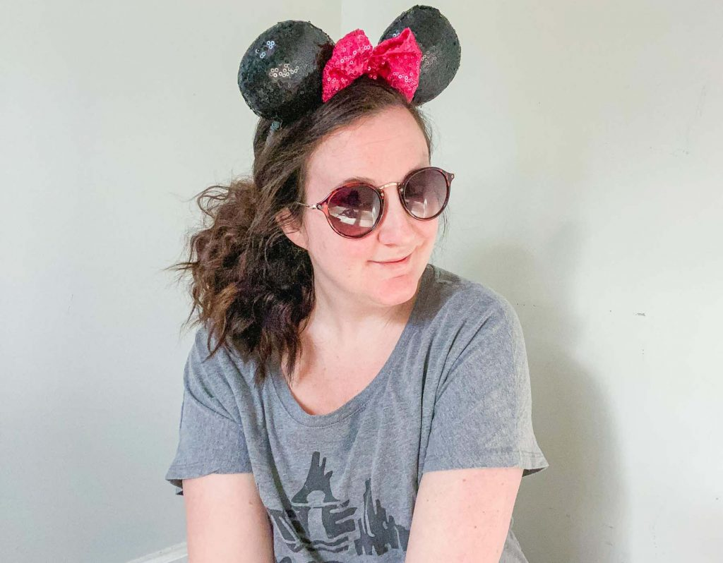 wearing minnie mouse ears