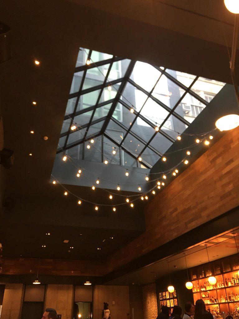 string lights under the skylight
