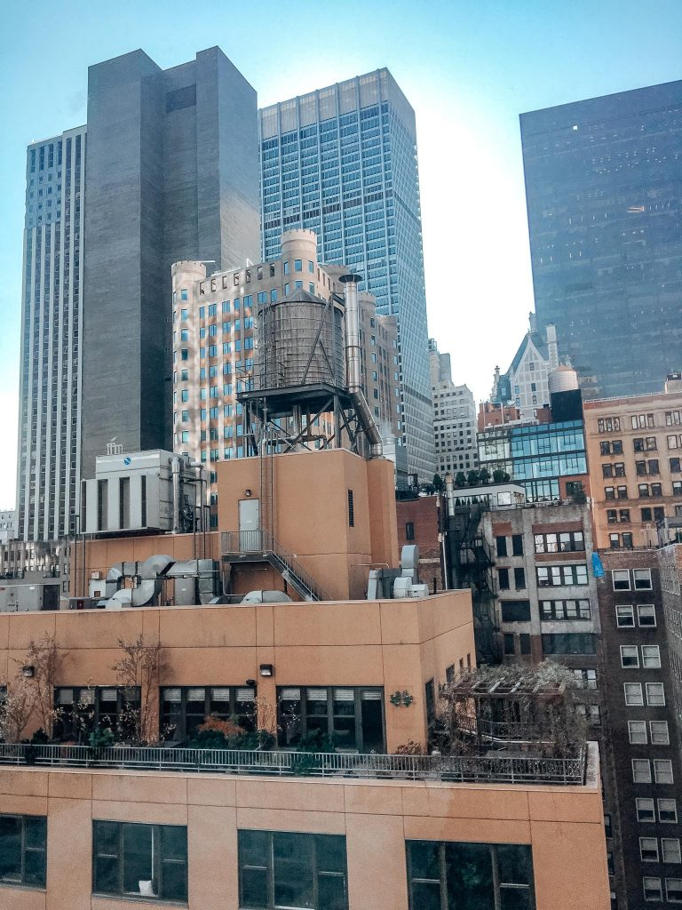 views of financial district skyline from the moxy nyc downtown room
