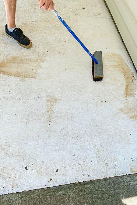 deck brushing the dirt away