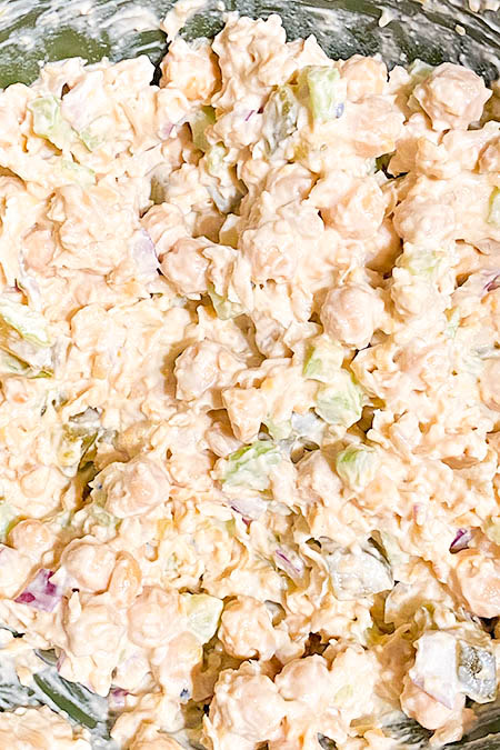 Mix until the chickpea salad is to the consistency you like.