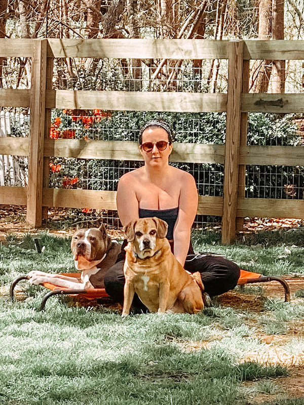 me and my dogs sitting on the coolaroo